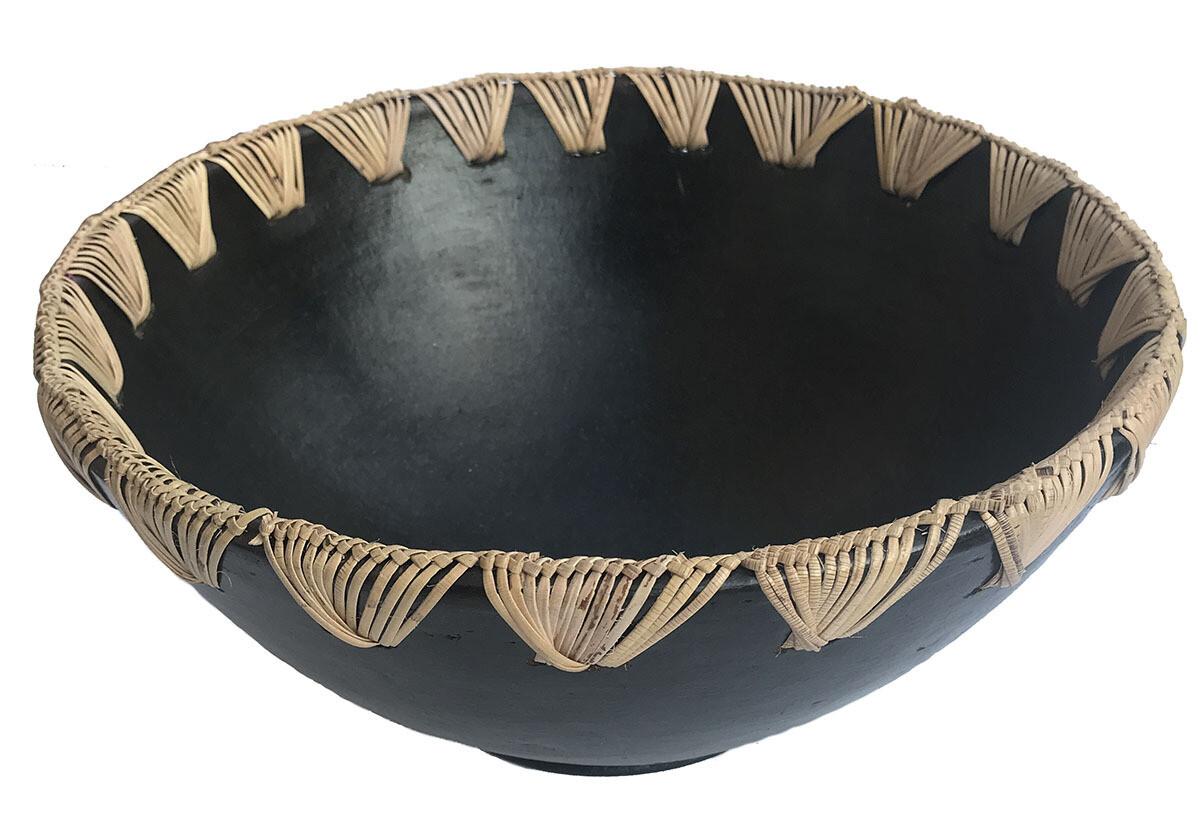 Large Ceramic & Rattan Bowl