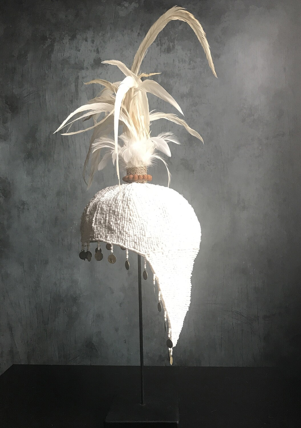 White Beaded Hat with White Feathers from Bali, Indonesia - Preorder