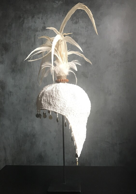 White Beaded Hat with White Feathers from Bali, Indonesia