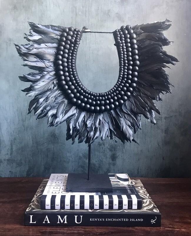 Black Beaded Necklace Decor - Preorder