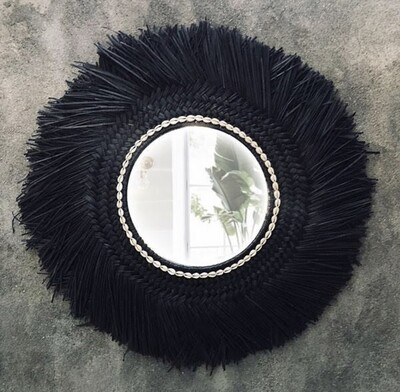 Black Sea Grass Mirror with Cowrie Shells