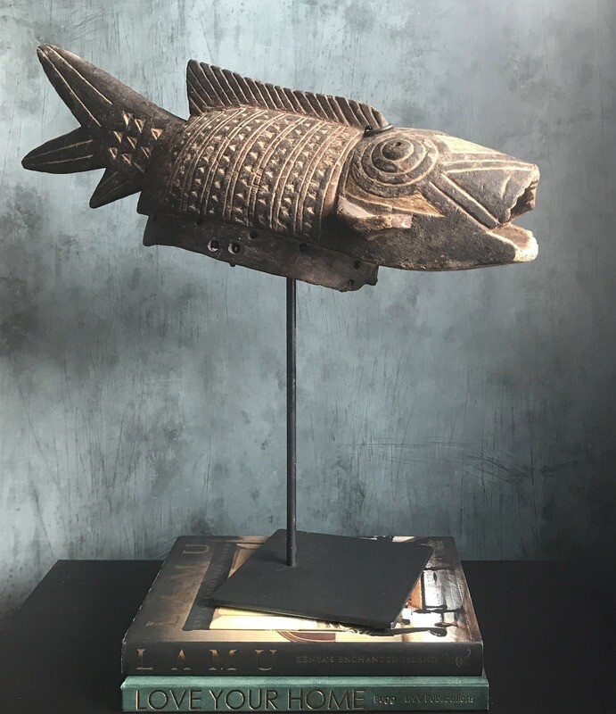 Wood Carved Fish Mask from Burkina Faso