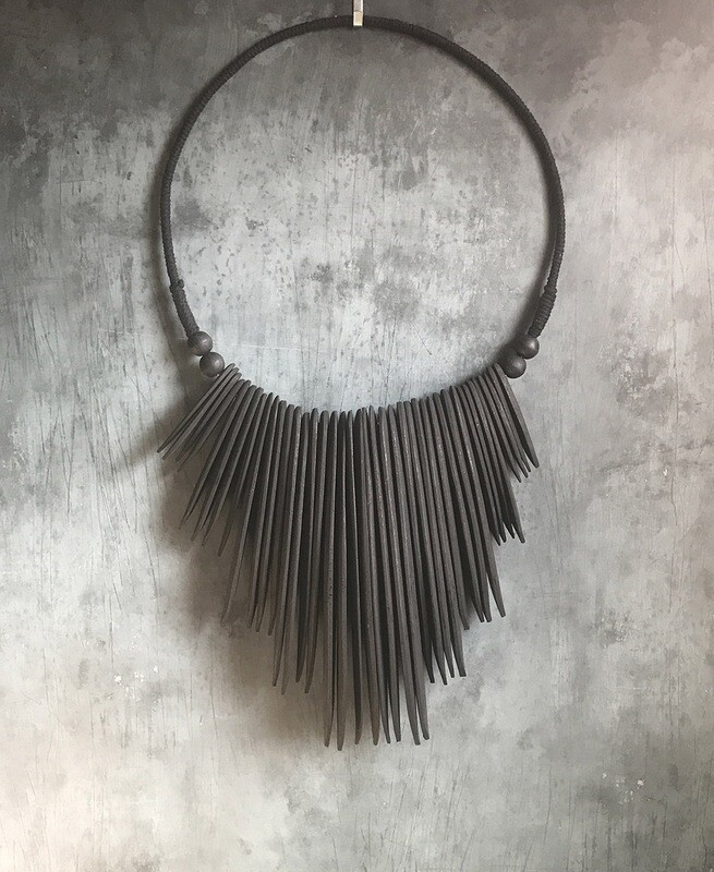 Wood Necklace Wall Decor - Black