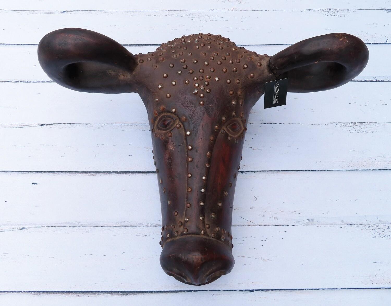 Wooden Buffalo Head Sculpture with Nail Tacks