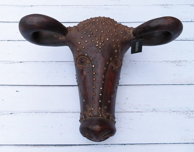 Wooden Buffalo Head Sculpture with Nail Tacks