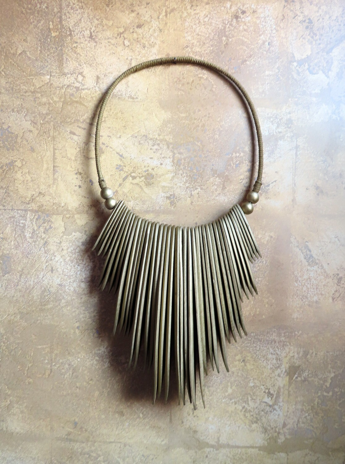 Wood Necklace Wall Decor - Gold