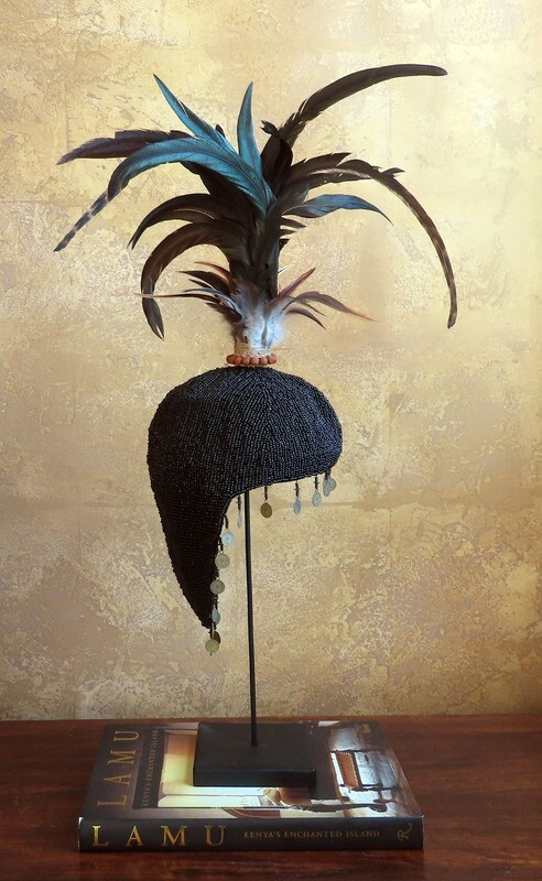 Black Beaded Hat from Bali, Indonesia