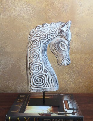 Wood-Carved Horse Sculpture - WW