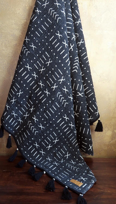 Beaded Throw Blanket - African Tribal Print 2