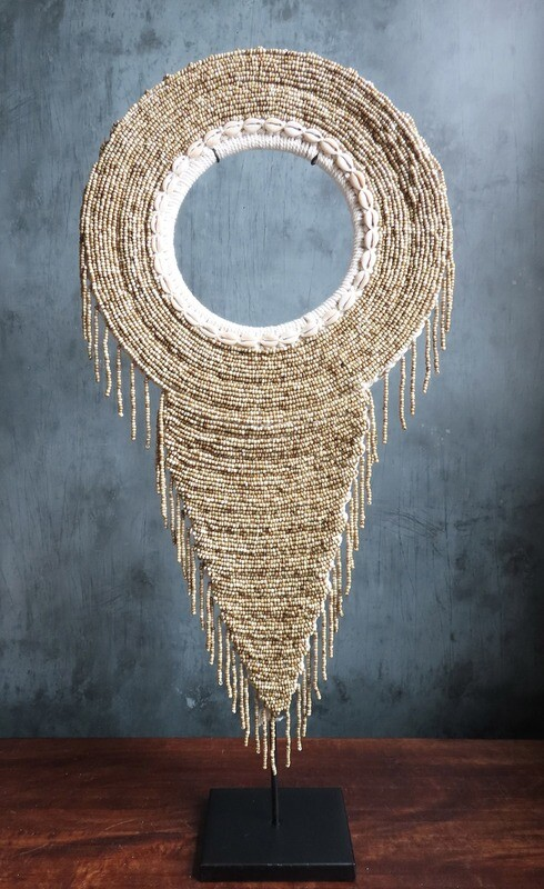 Beaded Tribal Necklace On Stand (Gold)