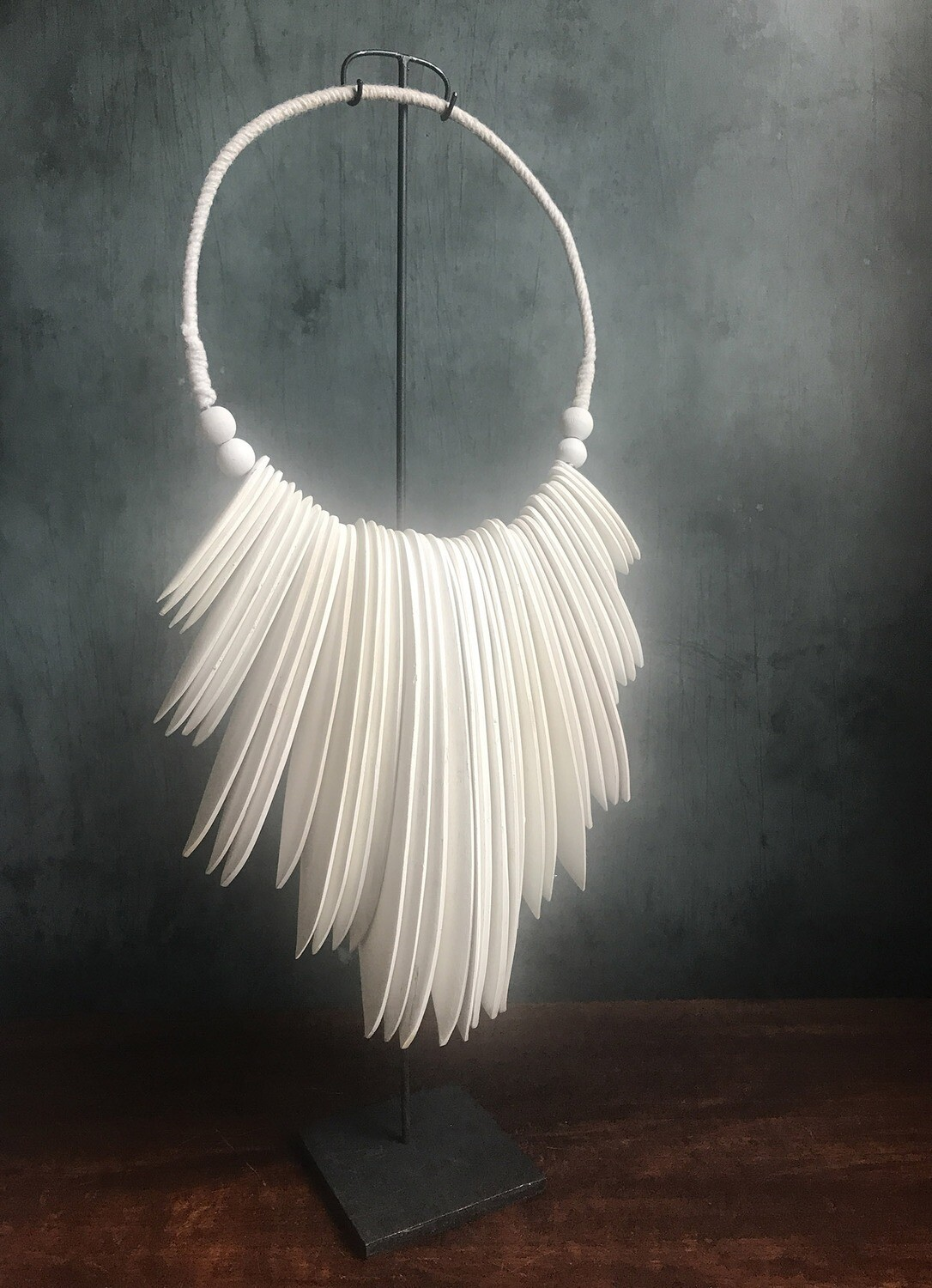 Wood Necklace Wall Decor - White