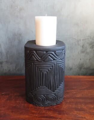 Short Wood Carved Candle Holder - Black 1