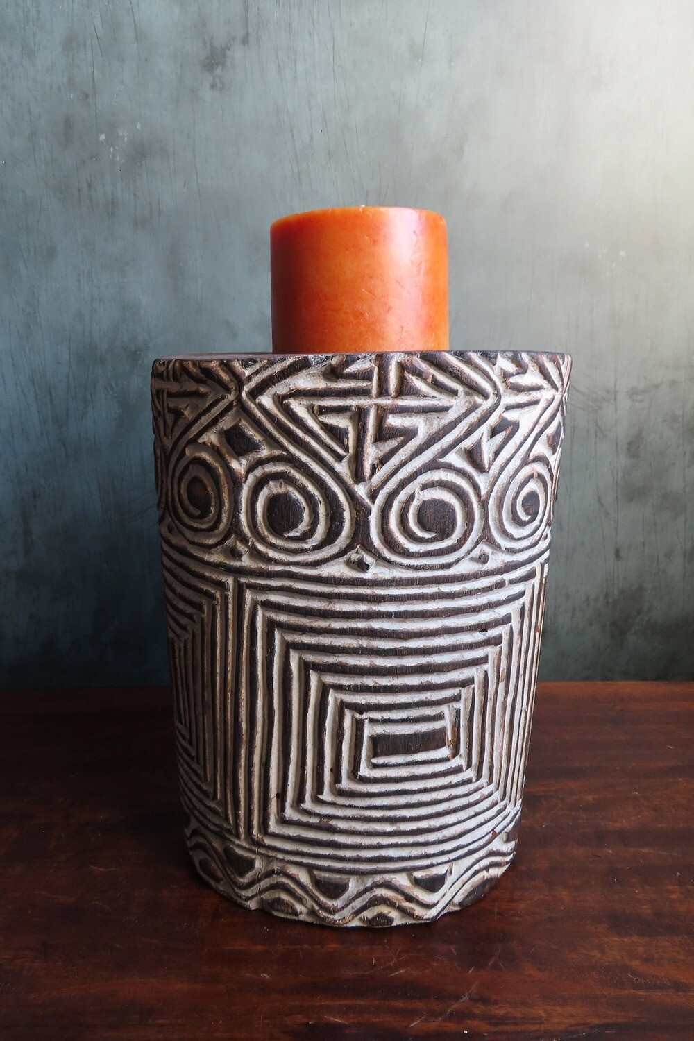 Short Wood Carved Candle Holder - White Tribal