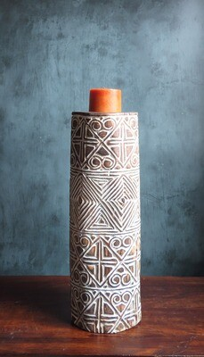 Extra Large Wood Carved Candle Holder - White Tribal