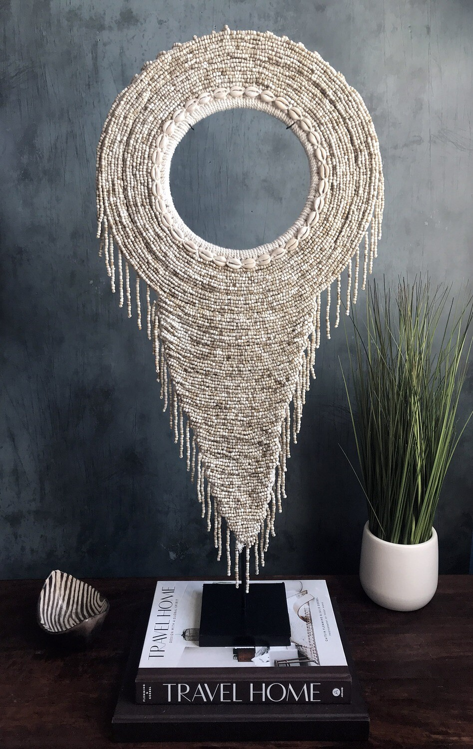 Beaded Tribal Necklace On Stand (Natural)