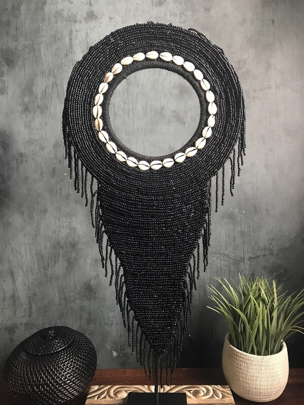 Beaded Tribal Necklace On Stand (Black)