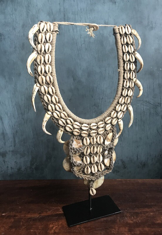 Vintage Shell Necklace on Stand