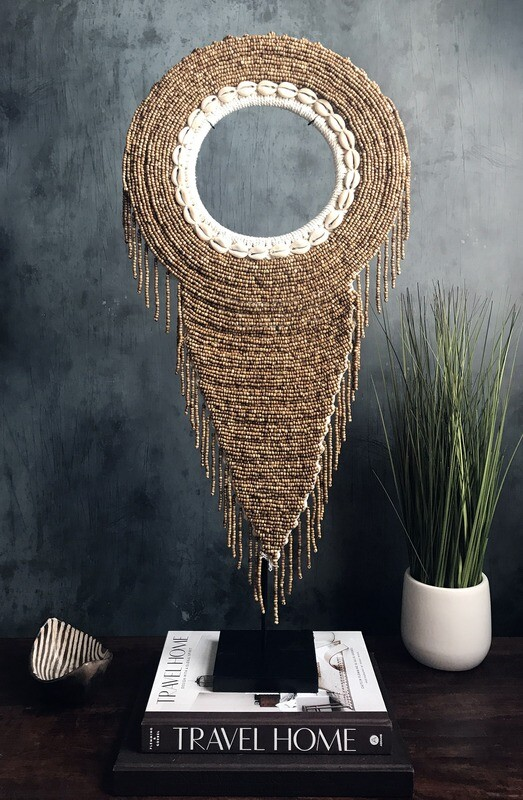 Beaded Tribal Necklace On Stand (Toasted Brown)