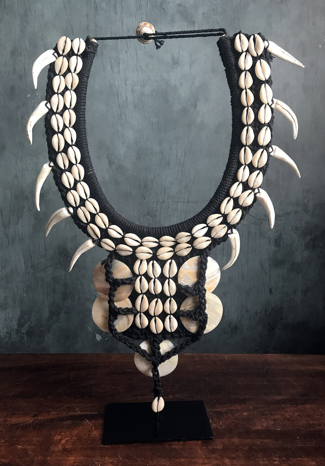 Black Shell Necklace on Stand