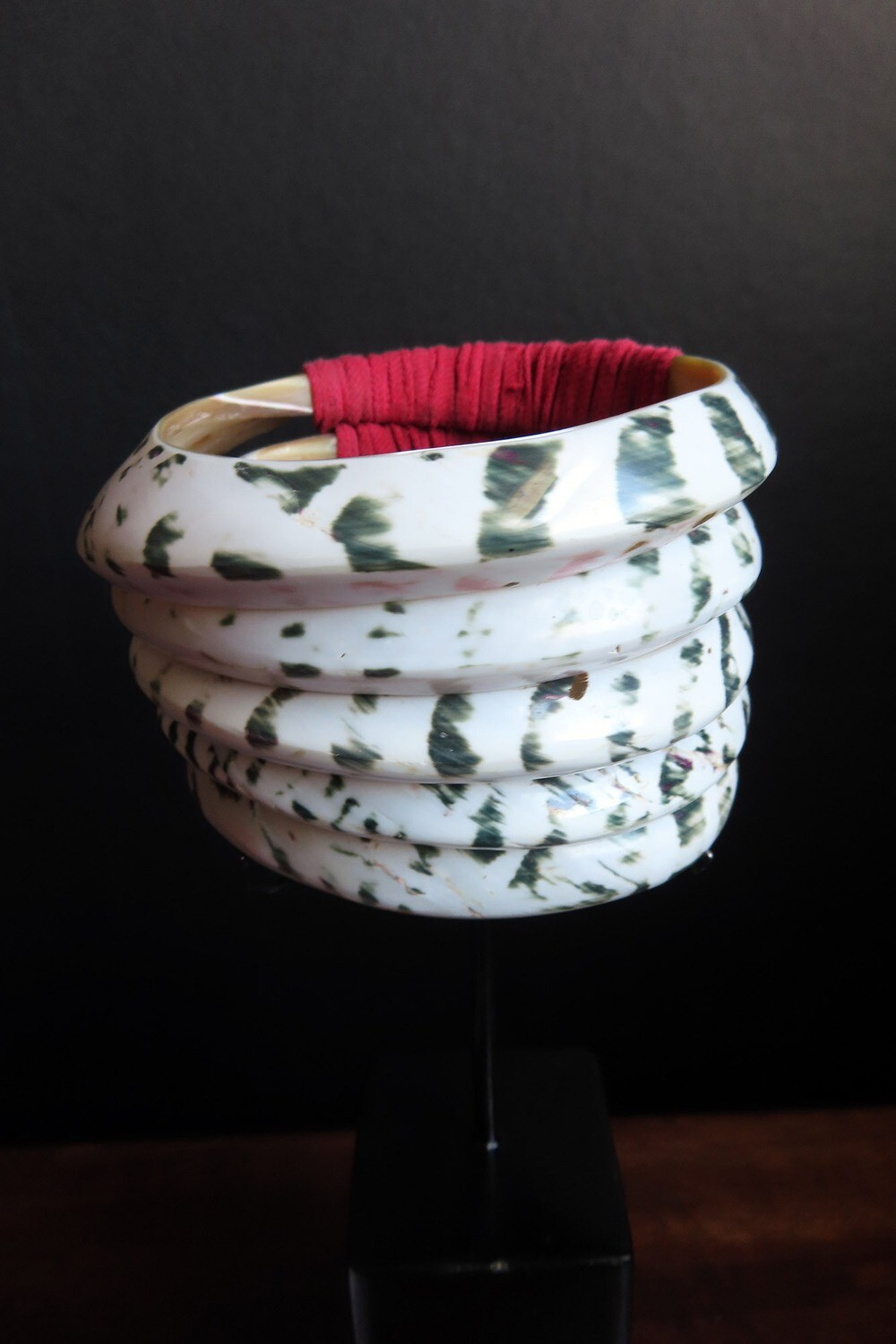 Tribal Armlet with Red Fibers - Tall