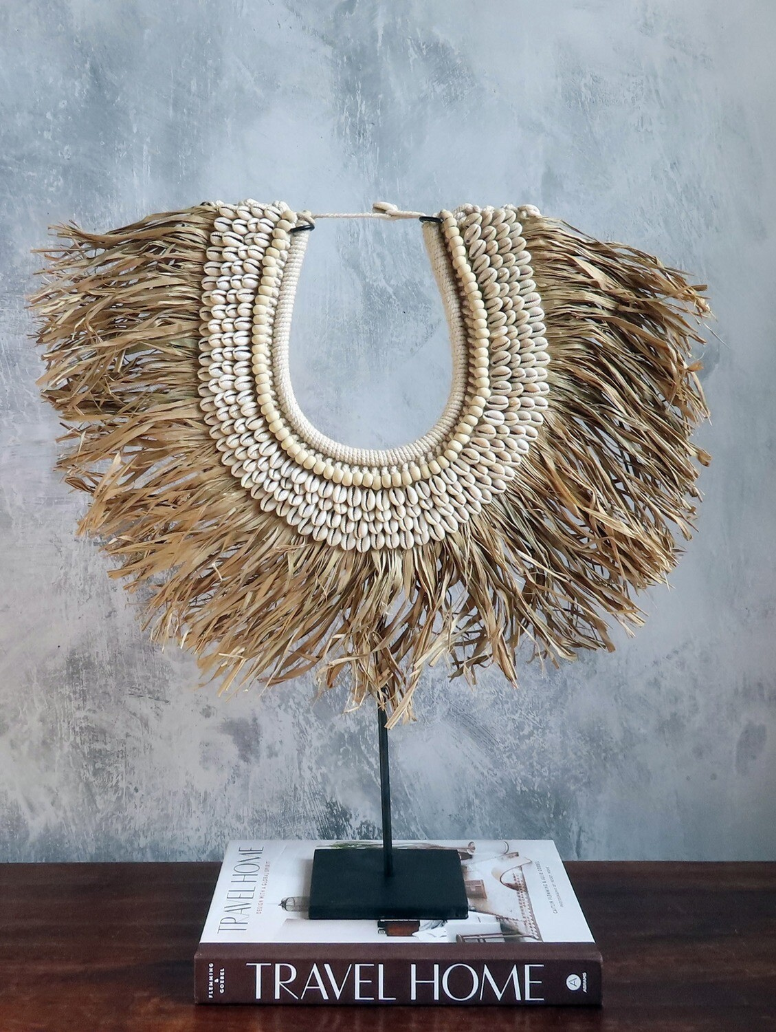 Grass, Shell and Bead Necklace Decor