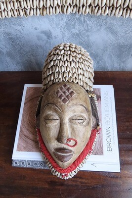 Punu Mask - Gabon (Red/Cowrie Shells)