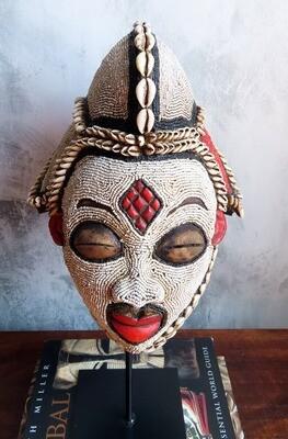Vintage Beaded and Shell Punu Mask