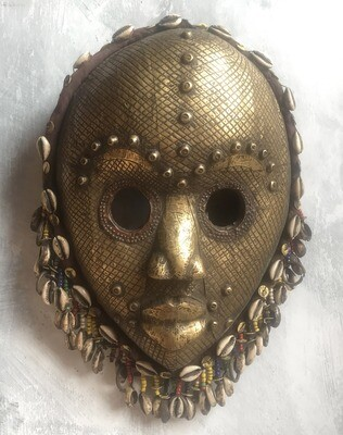 Metal, Bead & Shell Mask from West Africa