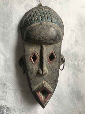 Wood Mask with Color & Earrings from Ghana