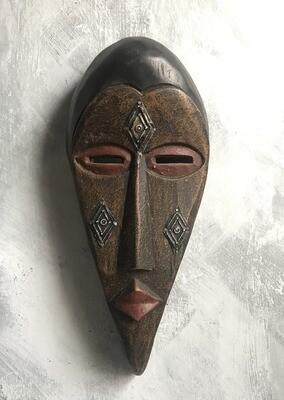 Wood & Metal Mask from Ghana