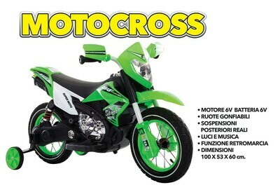 MOTO MOTOCICLETTA ELETTRICA PER BAMBINI Moto Cross 6v