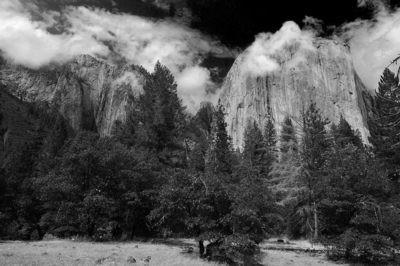 El Capitan in Clouds, Yosemite Valley - California