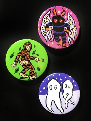 CRYPTIDS - Set of 3 Pin Badges