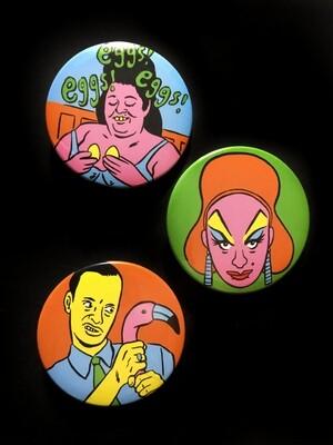 JOHN WATERS - Set of 3 Pin Badges