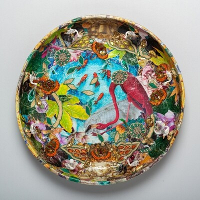 Wall Hanging Decoupage Flamingo and Pelican Dish Platter