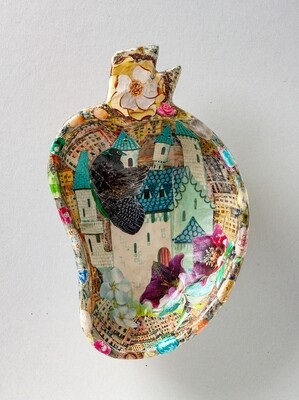 All Stories Started Here - Hand Cut Paper Decoupage Wooden Dish