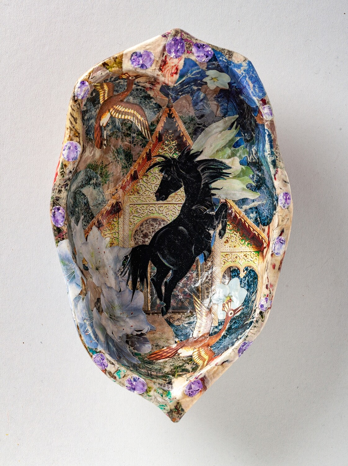 The Horse Leapt and Flew - Hand Cut Paper Decoupage Wooden Dish