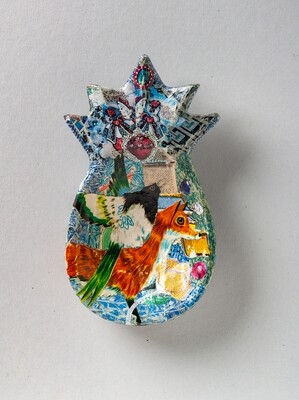 Fox Flew With The Help From A Friend - Hand Cut Paper Decoupage Wooden Pineapple Dish