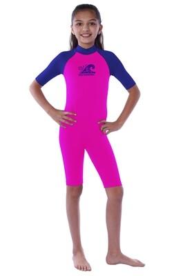 Body acuático seamless manga corta para niña (4-10 años)