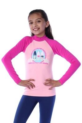 Playera acuática seamless manga larga para niña (4-10 años)