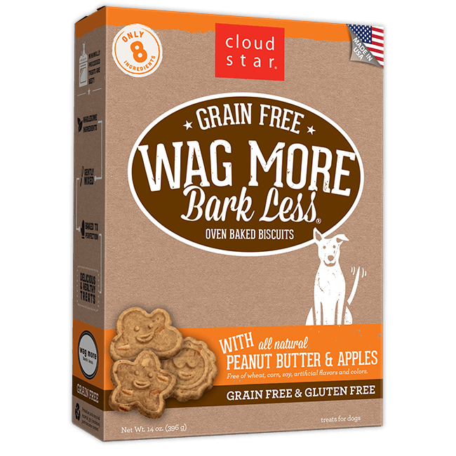 Wag More Bark Less Oven-Baked Grain Free: Peanut Butter and Apples Dog Treats