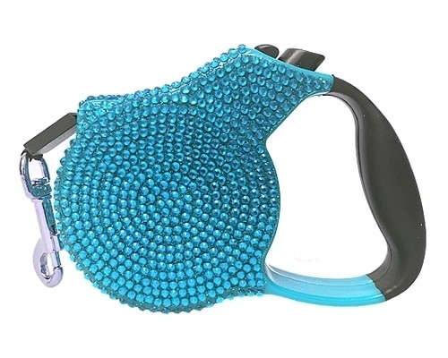 Crystal Retractable Leash Blue