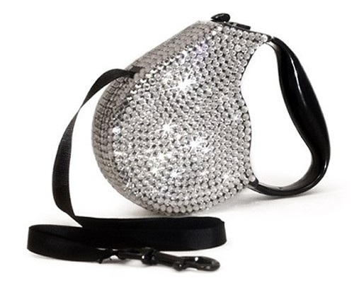 Crystal Retractable Leash Silver