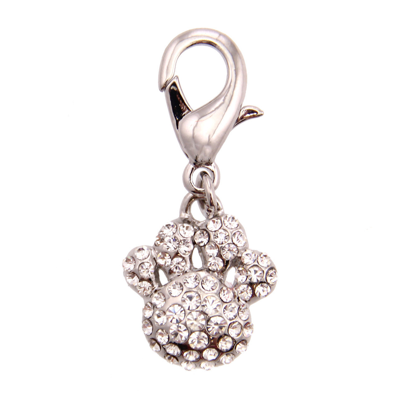 Pave Paw Collar Charm - Clear