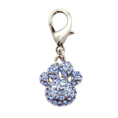 Pave Paw Collar Charm - Blue
