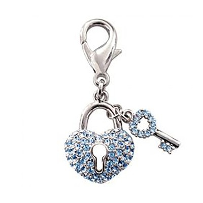 Pave Key to My Heart Collar Charm - Blue