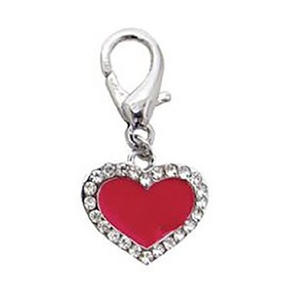 Enamel Heart Collar Charm - Red