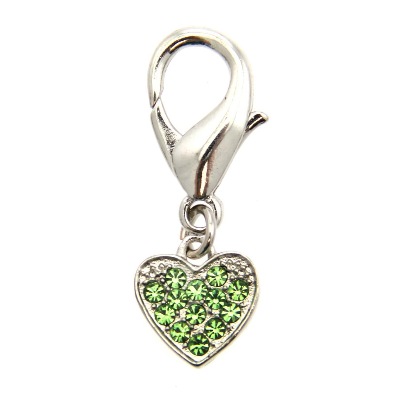 Basic Heart Collar Charm - Green