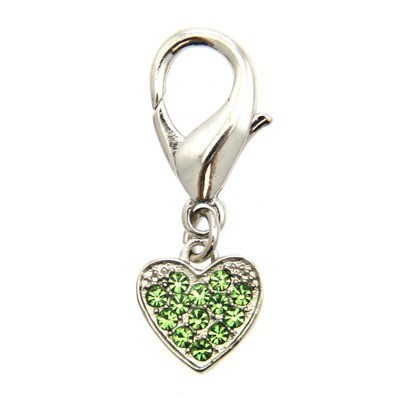 Basic Heart Collar Charm - Green