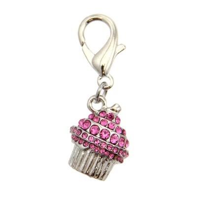Crystal Cupcake Collar Charm - Pink